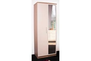 Chester Wardrobe 2 Door Mirrored (Cream on Oak)